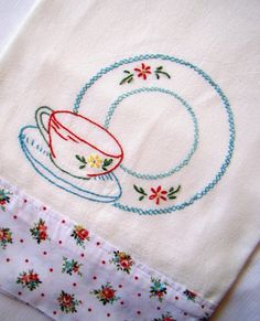 Summer Roses and a Cup of Tea - Hand Embroidered Flour Sack Tea Towel Towel Embroidery, Hand Embroidery Flowers, Flower Embroidery Designs, Hand Embroidery Stitches, Machine Embroidery Patterns, Cross Stitch Embroidery, Embroidery Fonts, Mug Rug Patterns, Font Alphabet