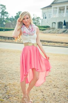 Pink skirt, white tank, and scarf