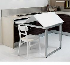 would this work at end of island? Picture of Space Saving Kitchen Island with Pull Out Table