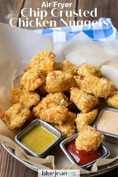 Air fryer chicken nuggets are a healthier way to enjoy crispy chicken bites. Coating them in crunchy potato chips makes breading them not only easy, but very tasty too! Use any flavor potato chips and come up with your very own nuggets that both kids and adults will love. So much better than store bought frozen nuggets. Onion Recipes, Chef Recipes, Cooking Recipes, Slow Cooking, Dinner Recipes, Crusted Chicken, Crispy Chicken, Air Fryer Chips, Honey Mustard Dip