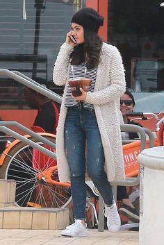 Mila Kunis wearing Adidas Stan Smith Sneakers, Twenty Linen Micro Stripe Crop Tank and STROM Brand Nio Jeans in Jaguar: