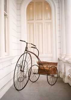 Vintage tricycle with basket, by Elizabeth Messina for Ruche Catalogue