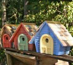 cute and colorful bird houses