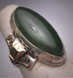 Antique Jade Ring Gold Filigree Vintage Art by AawsombleiJewelry