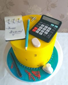Back to school themed cake by DDelev Birthday Cake For Men Easy, Birthday Cake For Daughter, Creative Birthday Cakes, Birthday Cakes For Men, Creative Cakes, Fondant Cake Designs, Fondant Cakes, Cupcake Cakes, Cupcakes