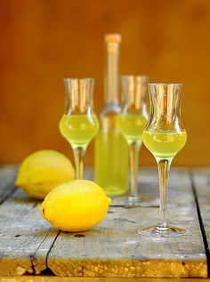 Limoncello- This is what I made this year and put in smart little bottles to give to friends at Christmas-time.  Turned out GORGEOUS!  -Chuck