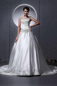 Satin Straps Classic Bridal Dress - Order Link: http://www.theweddingdresses.com/satin-straps-classic-bridal-dress-twdn3200.html - Embellishments: Beading; Length: Cathedral Train; Fabric: Satin; Waist: Dropped - Price: 186.51USD