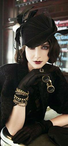 Dark, alluring, introverted steampunk ensemble inspiration