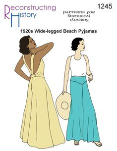 Vintage wide leg pants are in fashion! See the history of vintage high waist, wide leg pants from the and Learn and shop. Pajama Pattern, Pants Pattern, Dress Sewing Patterns, Vintage Sewing Patterns, Sewing Ideas, 1920s Outfits, Vintage Outfits, Vintage Clothing Display, Clown Pants
