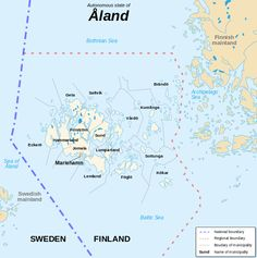 Åland map - The blue dashed line is a border between Sweden (Ruotsi) and Finland (Suomi). Island Map, Map Design, Baltic Sea, Archipelago, Beautiful Islands, Geography, Norway, Sweden, Maps