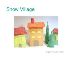 Create This DIY Christmas Snow Village from Boxes ... easy Christmas craft.  | Ziggity Zoom