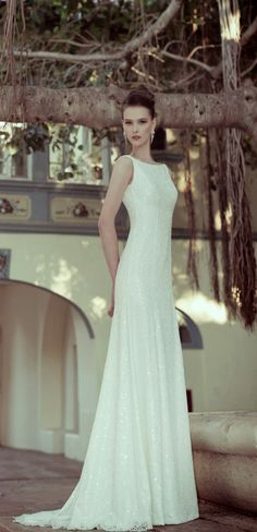 Classic sixties style with a touch of contemporary glamour for a timeless bridal look.   Wedding Dresses by Flora Bridal 2014.