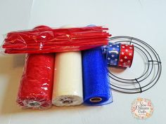 New Orleans Crafts by Design: How To Make A Spiral Deco Mesh Wreath - DIY Spiral Deco Mesh Wreath by Brenda Rundell AndrewsHow To Make A Spiral Deco Mesh Wreath Patriotic Red, White and Blue Spiral Deco Mesh Wreath So I am going to attempt to give a Mesh Ribbon Wreaths, Wire Wreath, Deco Mesh Wreaths, Burlap Wreaths, Floral Wreaths, Deco Mesh Wreath Tutorial, Mesh Garland, Bow Wreath, Candy Wreath