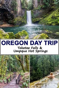 See the best of Oregon on this awesome day trip to Toketee Falls and Umpqua Hot Springs. Located near Crater Lake National Park, just South of Bend this may be Oregon's most beautiful waterfalls. The hot springs look so relaxing Oregon Vacation, Oregon Road Trip, Oregon Travel, Vacation Places, Travel Usa, Places To Travel, Places To See, Oregon Hiking, Travel Portland
