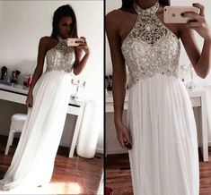 White Chiffon Prom Dresses Long A-line Halter Formal Gowns Beading Evening Dresses Sexy Party Dresses for Teens Girls Sparkly Prom Dresses, Elegant Prom Dresses, Prom Dresses 2017, Beaded Prom Dress, Prom Dresses For Sale, Prom Party Dresses, Evening Dresses, Sexy Dresses, Dress Prom