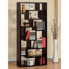 Give your living room a little gallery glam with the Furniture of America Furniture of America Unique Wood Bookcase/ Display Cabinet - Red Cocoa . Wooden Display Cabinets, Wood Cabinets, Display Shelves, Open Shelves, Glass Shelves, Display Case, Shelving Units, Book Shelves, Storage Cabinets