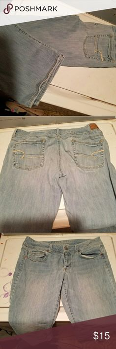 American Eagle jeans size 12! Short American Eagle jeans light denim wear.. Have a lot of wear left! Bought but have been losing weight and now are tooo big. Will trade for size 10 if interested.. American Eagle Outfitters Jeans Boot Cut