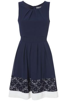 Navy Lace Edge Structured Dress in OCCASIONWEAR from Apricot