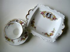 Vintage Queen Elizabeth & Prince Charles Cup & Saucer & Cake Plate 1959 Visit