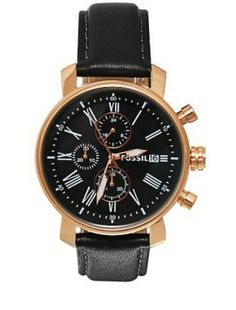cd73ba8224fe0 Relógio Fossil BQ1008 Men s Black Leather Strap Black Dial Chronograph  Watch  Relogio  Fossil