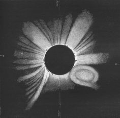 Drawing of the 1860 eclipse by G. Tempel, showing a large solar coronal mass ejection.
