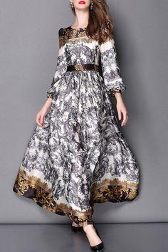 Abstract Printed Long Sleeve Dress DEEP GRAY: Maxi Dresses | ZAFUL
