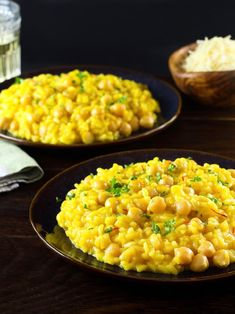 Saffron Chickpea Risotto - Golden creamy saffron-infused vegetarian risotto with chickpeas for complete protein. Hearty, filling entree. Irresistible!   ToriAvey.com #vegetarian #maincourse #saffron #chickpeas #risotto #rice #hearty #comfortfood #easyrecipe #healthy #protein #lunch
