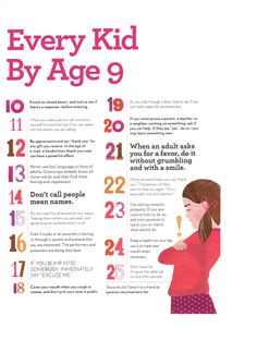 25 Manners Every Kid Needs by Age 9.  Would be a good FHE lesson and for those quick life lessons at school :)