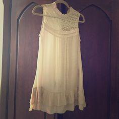 Mine Vintage Top Vintage cotton/rayon lace shoulder long length Mine Tops Blouses