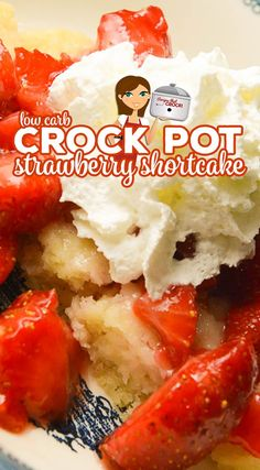 Are you looking for an easy low carb dessert? Our Crock Pot Low Carb Strawberry Shortcake makes a tender sweet cake topped with juicy strawberries and sugar-free whipped cream.This is one of our favorite Carbquick recipes! Low Sugar Recipes, Healthy Low Carb Recipes, Low Carb Desserts, Diet Recipes, Lunch Recipes, Crockpot Recipes, Dessert Recipes, Freezer Recipes, Freezer Cooking