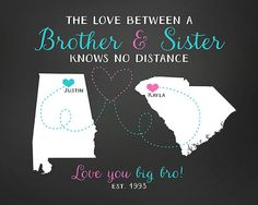Gift For Brother Sister Long Distance Maps Birthday Sibling Military
