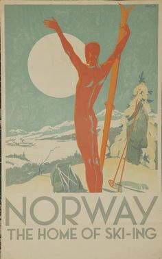 """Norway - The home of ski-ing - Poster (poster seen in Schmidt's room in """"New Girl"""", the series)"""