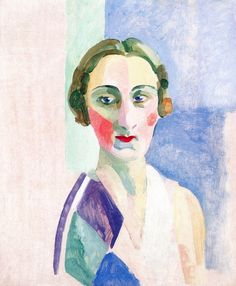 Study by Robert Delaunay, ca 1926, Portrait of Madame Heim, oil on panel.
