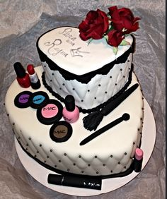 Heart shaped cakes with Makeup