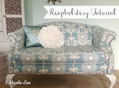 Do I dare? I think I do. The love seat can't get any worse - fabric is gross but cushions and frame is fine....Reupholstery 101: My Thrift Store Loveseat Redo {Part 2–Tutorial}