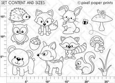 Woodland Animals Coloring Pages Unique Woodland Animals Digital Stamps Clipart Forest Animals, Woodland Animals, Baby Motiv, Animal Coloring Pages, Woodland Creatures, Digital Stamps, Baby Quilts, Embroidery Patterns, Ribbon Embroidery
