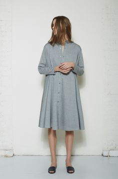 6397 / Pleated Shirtdress  Woman by Common Projects / Slide Sandal #lagarconneatelier