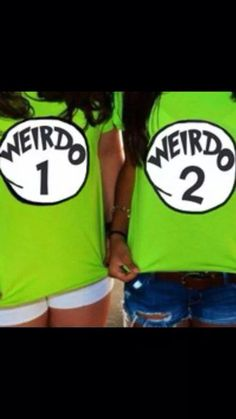 Buy Weirdo 1 Weirdo 2 Shirt Best Friends Custom Made Halloween Costume at Wish - Shopping Made Fun Partner Halloween Costumes, Cute Group Halloween Costumes, Best Friend Halloween Costumes, Hallowen Costume, Cute Costumes, Halloween Kostüm, Halloween Outfits, Costume Ideas, Nerd Costumes