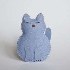 Little Cornflower Blue Wool Felt Cat Softie by littlegreymittens,