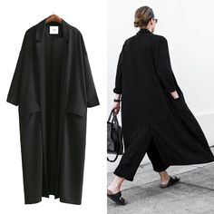 >> Click to Buy << [AZURE SHEN] Non-custom 2017 New Autumn Fashion Solid Black Casual Long Women Coat Loose Oversize Jacket Women Split Coats U370 #Affiliate