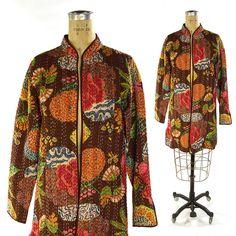 90s Kantha Jacket / Vintage 1990s Quilted Cotton Duster / Indian Floral Print Lightweight Layering Coat / Hippie Boho Bohemian Ethnic / Med by SpunkVintage