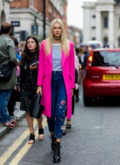 Try wearing a statement coat in fuchsia pink with patchwork denim like Jessica Hart.