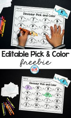 Editable Dinosaur Pick and Color Printable for Early Childhood Education Your students are going to LOVE using this dinosaur pick and color printable in your early childhood classroom! The perfect addition to your centers. Dinosaur Classroom, Dinosaur Theme Preschool, Dinosaur Alphabet, Preschool Literacy, Preschool Themes, Kindergarten Activities, Preschool Crafts, Daycare Curriculum, Kindergarten Freebies