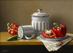 "Enamelware with Peppers 12""x16"" Sold"