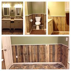 This Wainscoting is made up of 5 pallets planks that equal about 25 feet then to… - Pallet Furniture Project Pallet Walls, Pallet Furniture, Pallet Wall Bathroom, Pallet Boards, Pallet Sofa, Garden Furniture, Pallet Lounge, Pallet Benches, Outdoor Pallet
