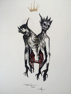First 7 days of Inktober 2015 Satan Drawing, Skull Tattoo Flowers, Monster Sketch, Horror Drawing, Dark Spirit, Beautiful Dark Art, Satanic Art, Occult Art, Sketch Inspiration