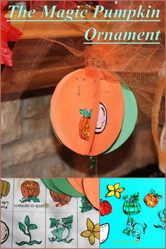 Pumpkin Life Cycle Sequencing and Pumpkin Ornament Craft for Kids.