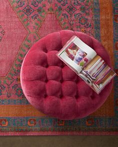 Shop French Beret Tufted Velvet Round Ottoman at Horchow, where you'll find new lower shipping on hundreds of home furnishings and gifts. Pink Ottoman, Round Tufted Ottoman, Ottoman Decor, Pink Velvet, Floor Pillows, Floor Pouf, Throw Pillows, Interior Design Living Room, Room Interior