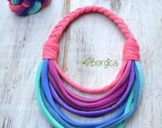 Gaia ombre braided crocheted recycled fabric jewelry by Borgica