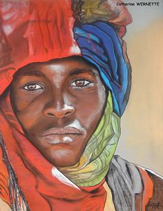 Mamadou, la tristesse Portraits Pastel, Afrique Art, African Art Paintings, Art Africain, Afro Art, African American Art, Portrait Art, Black Art, Female Art